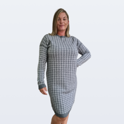 Dog Tooth Knitted Jumper Dress - Pisces7.co.uk